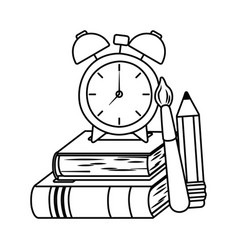 Clock and school supplies design vector