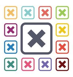 Close flat icons set vector