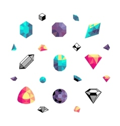 Color crystals diamond shapes polygon stones vector