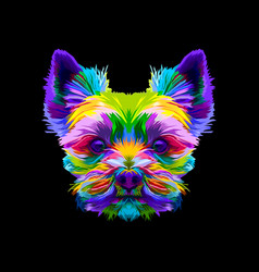 colorful yorkshire terrier dog head on pop art vector image