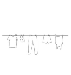 Continuous one line clothes dry on a rope vector