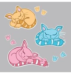 Cute kittens sleeping vector