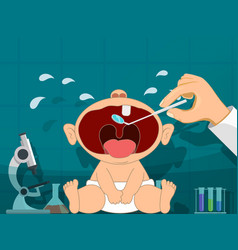 dentist and crying baby teething infant vector image