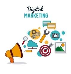 Digital Marketing over white background vector image