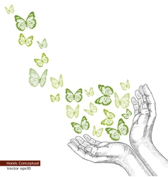 Drawing Hands releasing butterfly vector image