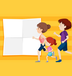 Family on note template vector