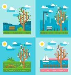 Flat design spring nature landscape vector image