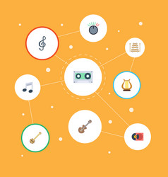 Flat icons musical instrument acoustic banjo and vector