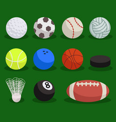 flat sport ball set balls on green background vector image