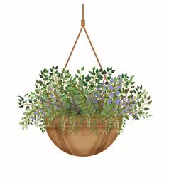 Fresh spring green flowers pot eps vector