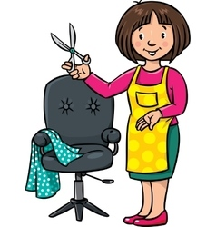 Funny hairdresser or barber Profession ABC series vector