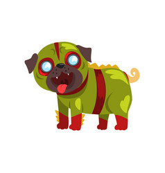 Funny pug dog character dressed in green military vector