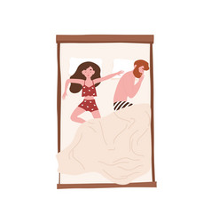 Funny young couple lying relaxed under blanket vector
