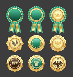 Green award rosettes and gold medals - prize vector
