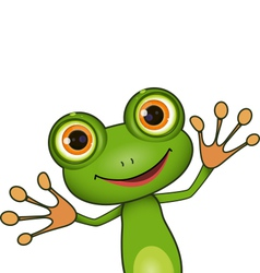 Green cute frog vector
