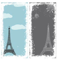 grunge banners with eiffel tower vector image