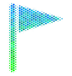 halftone blue-green triangle flag icon vector image