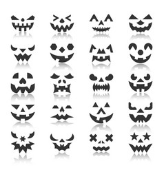 halloween pumpkin face with reflection icon set vector image