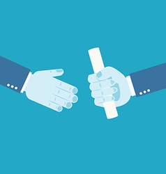 Handing over a paperwork baton vector image