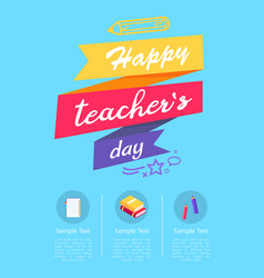 Happy teachers day colorful vector