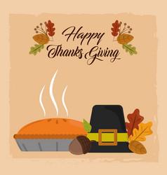 happy thanksgiving day pilgrim hat pumpkin cake vector image