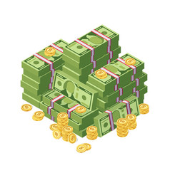 huge pile of dollar cash money and golden coins vector image