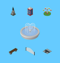 Isometric city set of barricade sculpture park vector