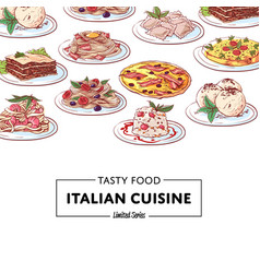 italian national cuisine dishes poster vector image