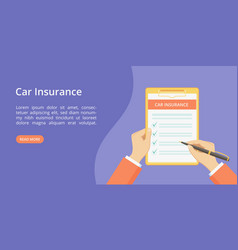 landing page car insurance on clipboard with hands vector image
