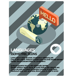 languages color isometric poster vector image