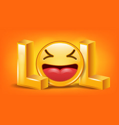 Lol sign fun symbol emotion smile facial vector