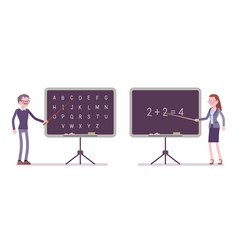 male and female teacher at blackboard vector image