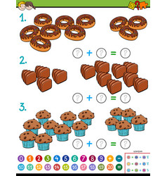 maths addition educational game with candies vector image