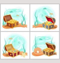 mermaids treasures in chest at bottom sea set vector image
