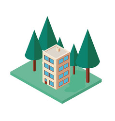 mini tree and building isometric vector image