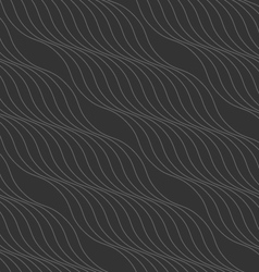 Monochrome pattern with thin gray wavy diagonal vector image