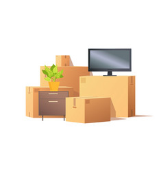 Move in relocation furniture and boxes vector