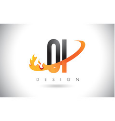 oi o i letter logo with fire flames design and vector image