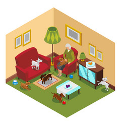 Old lady dogs isometric composition vector