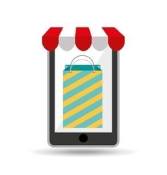 online shopping big bag present design vector image