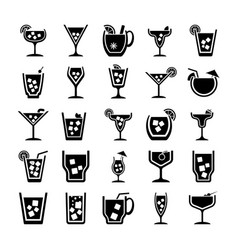 pack of cocktails glyph icons vector image