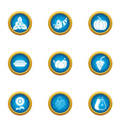 Peasant food icons set flat style vector