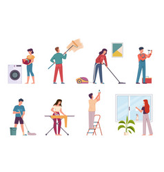 People cleaning housework cleaning company vector