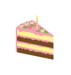 Piece of birthday cake vector image