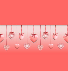 Pink seamless web banner with heart garland vector