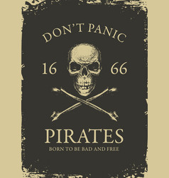 pirate banner with skull and crossbones vector image