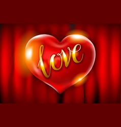 realistic 3d red heart shape with covering love vector image