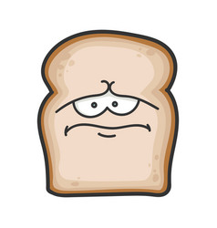 Sad slice bread cartoon vector