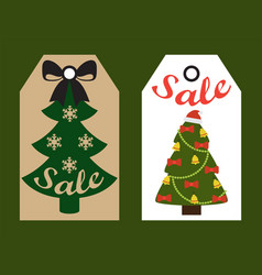 Sale decorative tags with xmas decorated trees vector
