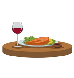 salmon steak and a glass of wine vector image